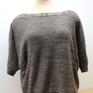 AGB Sweaters - AGB Womans Brown Boat Neck Short Sleeve Sweater XL